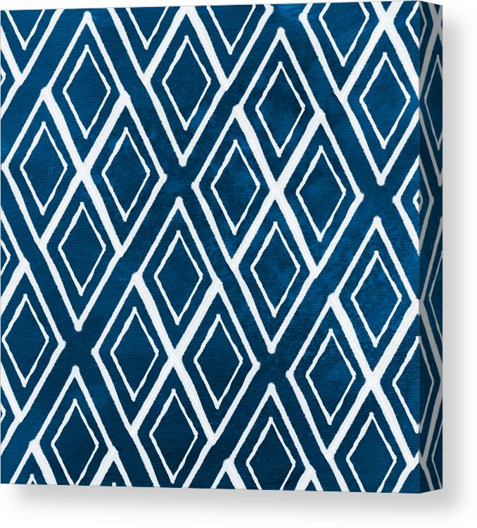 Indigo And White Canvas Print featuring the painting Indgo and White Diamonds Large by Linda Woods
