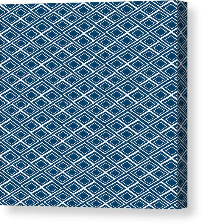 Indigo And White Canvas Print featuring the painting Indigo and White Small Diamonds- Pattern by Linda Woods