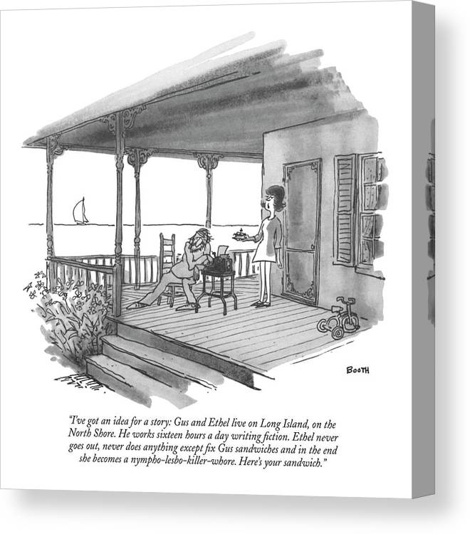 Marriage Canvas Print featuring the drawing I've Got An Idea For A Story: Gus And Ethel Live by George Booth
