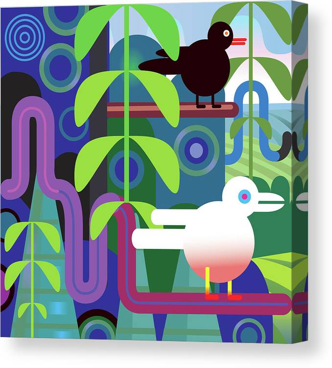 Pets Canvas Print featuring the digital art Jungle Vector Illustration With Birds by Charles Harker