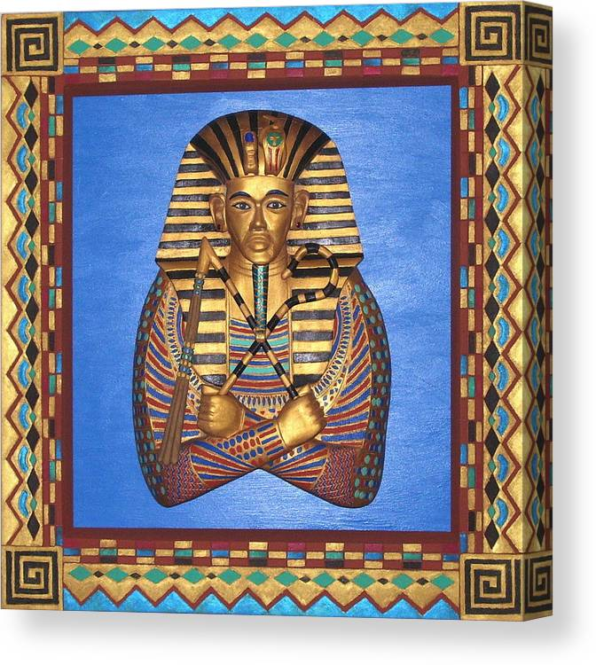 Sculpture Canvas Print featuring the mixed media KING TUT - Handcarved by Michael Pasko