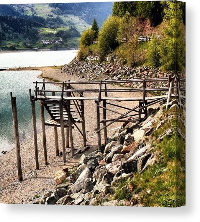Alps Canvas Print featuring the photograph Lago Di #resia #altoadige by Luisa Azzolini