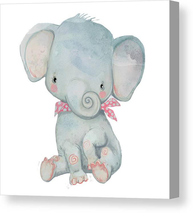 Watercolor Painting Canvas Print featuring the digital art Little Pocket Elephant by Cofeee