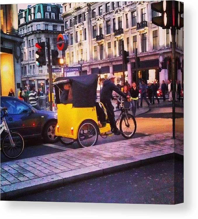 Buildings Canvas Print featuring the photograph #london #street #streetphoto #cars by Abdelrahman Alawwad