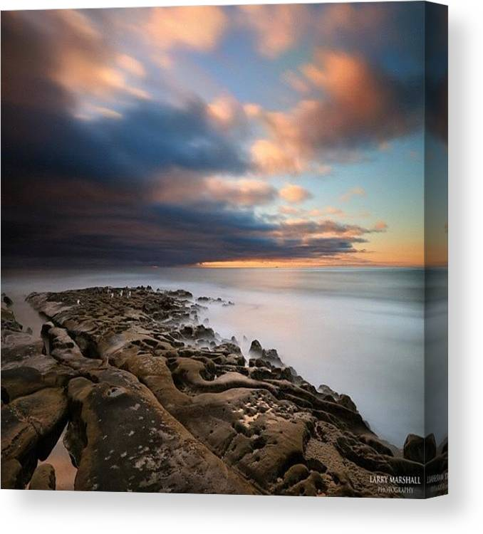 Canvas Print featuring the photograph Long Exposure Sunset Of An Incoming by Larry Marshall