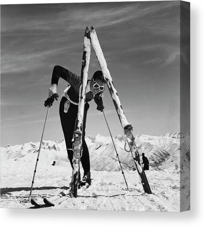 Beauty Canvas Print featuring the photograph Marian Mckean With Skis by Toni Frissell