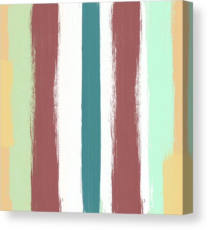 Marsala Stripe Abstract Pattern Painting Canvas Print Canvas Art By Linda Woods