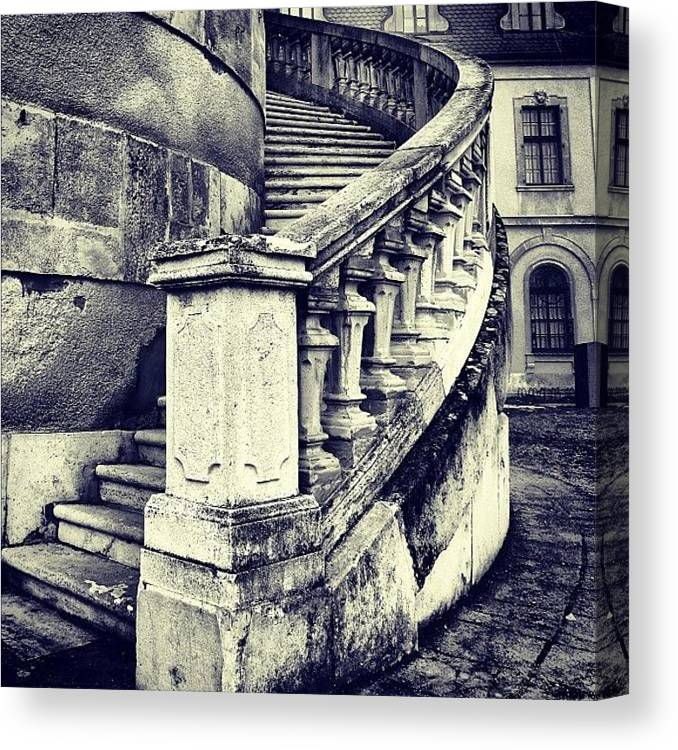 Lonely Canvas Print featuring the photograph #mgmarts #architecture #castle #steps by Marianna Mills