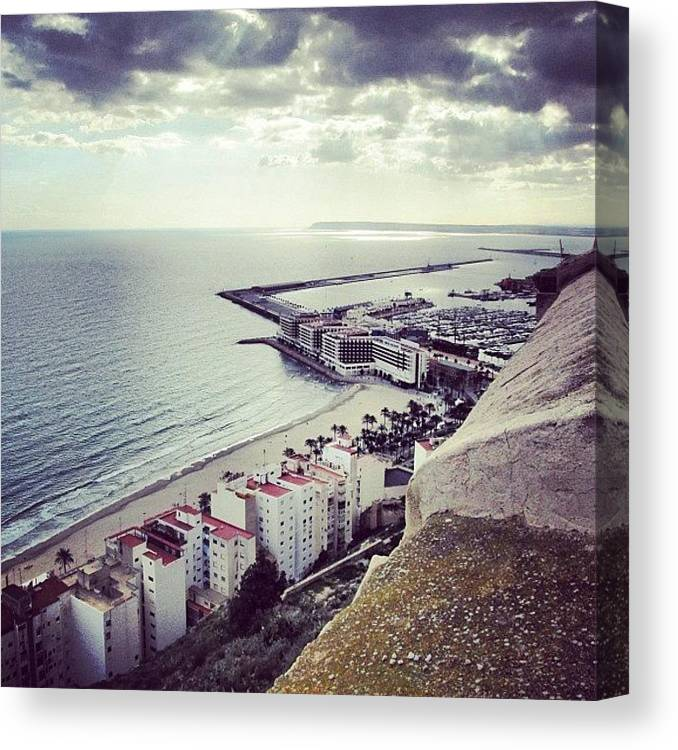 Lonely Canvas Print featuring the photograph #mgmarts #spain #seaside #sea #view by Marianna Mills