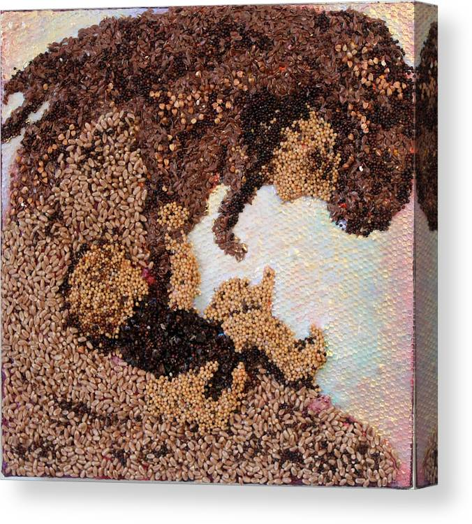 Mother And Child Canvas Print featuring the mixed media Mother Earth III by Naomi Gerrard