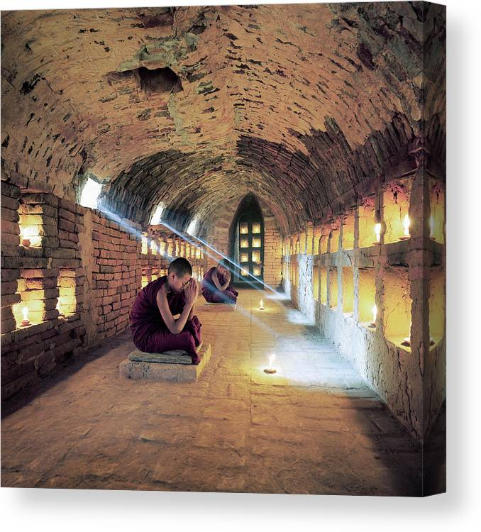 Arch Canvas Print featuring the photograph Myanmar, Buddhist Monks Inside by Martin Puddy