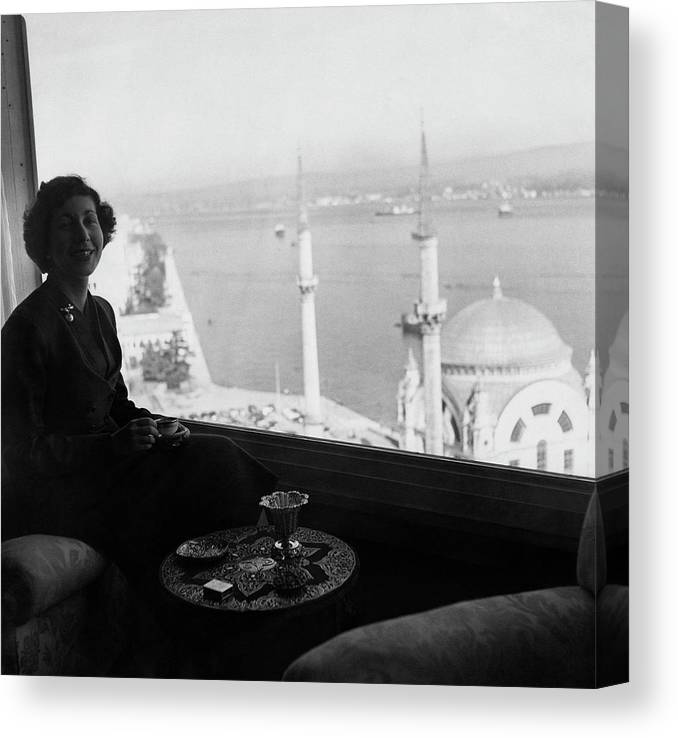 Cityscape Canvas Print featuring the photograph Necla Erad By The Bosporus by Horst P. Horst