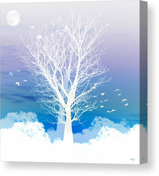 Tree Canvas Print featuring the photograph Once upon a moon lit night... by Holly Kempe