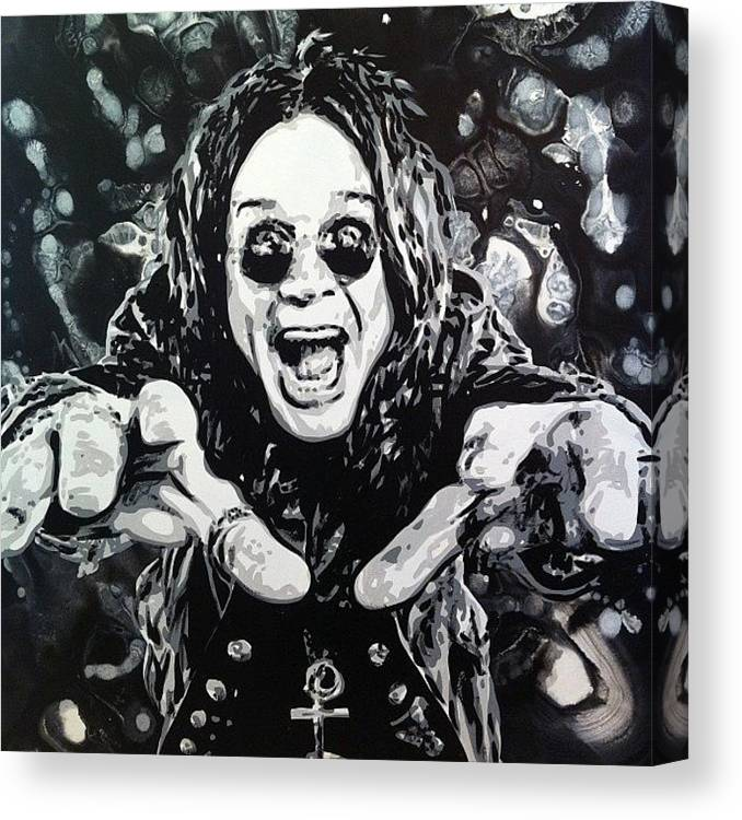 OZZY OSBOURNE WITH CHARCOAL SOFT PASTEL PAINT PRINT ON FRAMED CANVFRAMED CANVAS