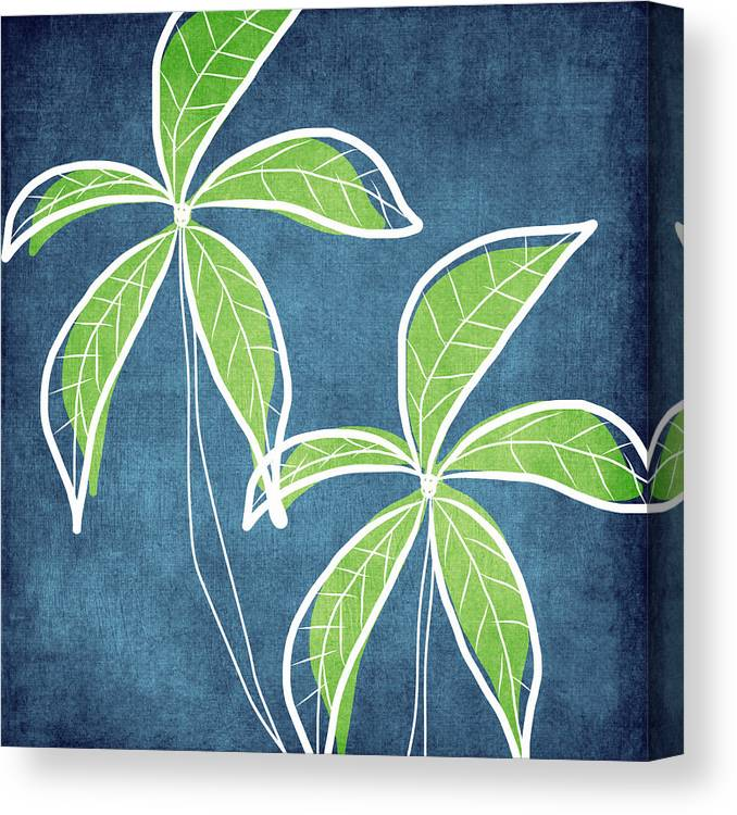 Palm Trees Canvas Print featuring the painting Paradise Palm Trees by Linda Woods