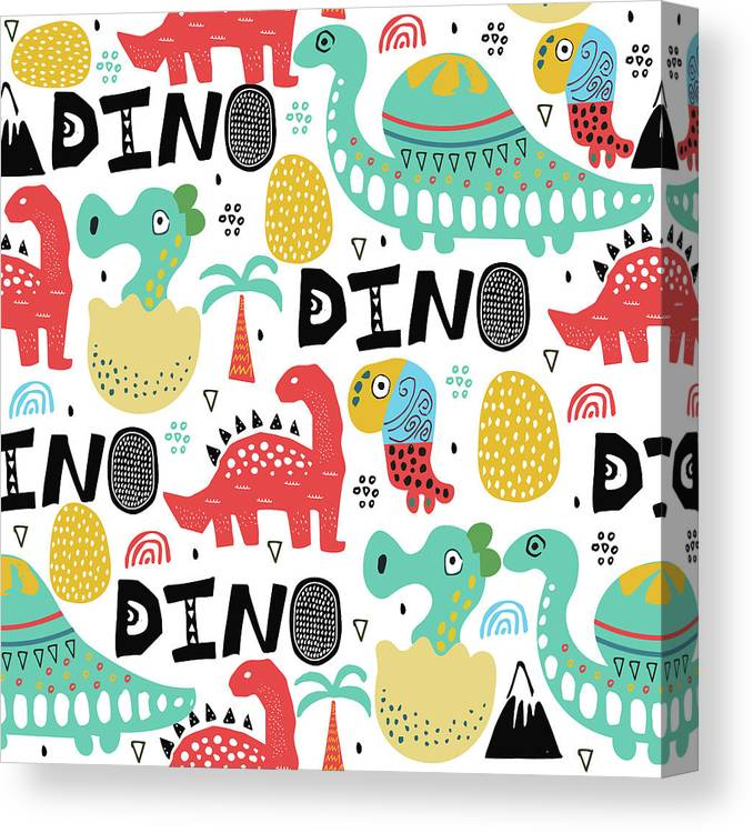 Printmaking Technique Canvas Print featuring the digital art Pattern With Dino,dinosaur With Palms by Olechkaolia