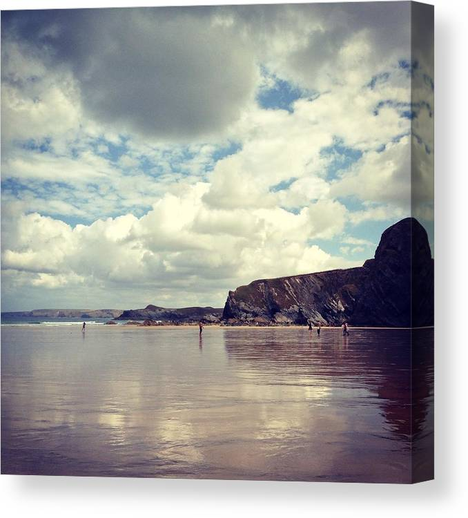 Mud Canvas Print featuring the photograph People Walking On Wet Sand On Cloudy by Jodie Griggs