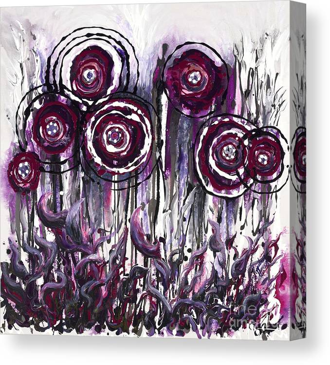 Poppies Canvas Print featuring the painting Purple Poppies by Nadine Rippelmeyer