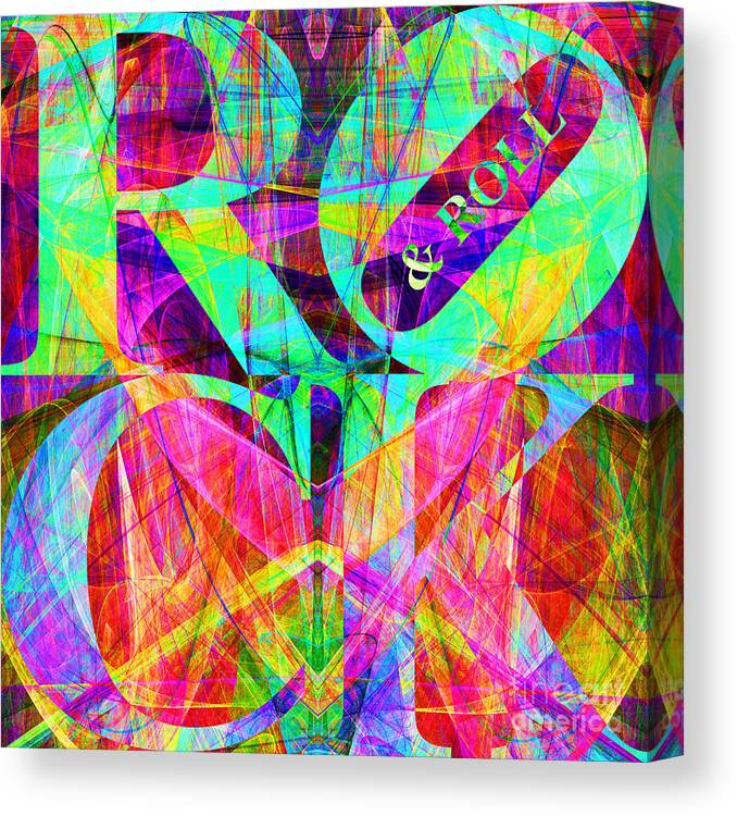Abstract Canvas Print featuring the digital art Rock And Roll 20130708 Fractal by Wingsdomain Art and Photography