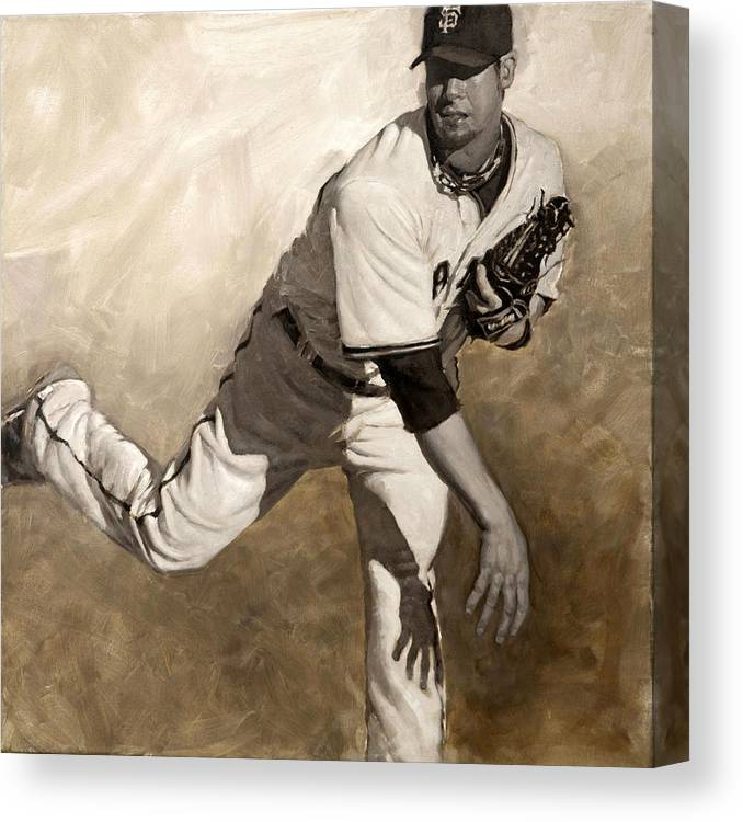 Ryan Vogelsong Canvas Print featuring the painting Ryan Vogelsong Perseverence by Darren Kerr