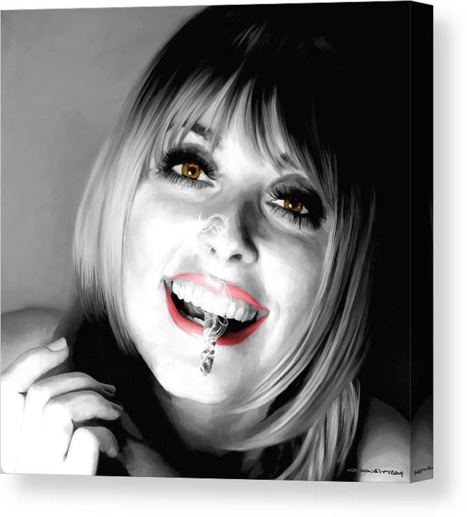 Sharon Tate Canvas Print featuring the digital art Sharon Tate Large Size Portrait by Gabriel T Toro