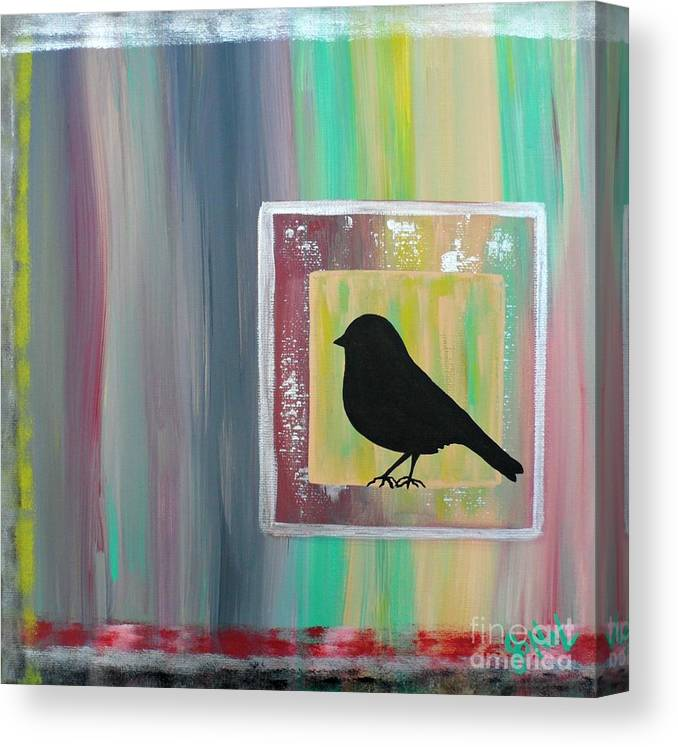 Bird Canvas Print featuring the painting Sitting Square by JoNeL Art