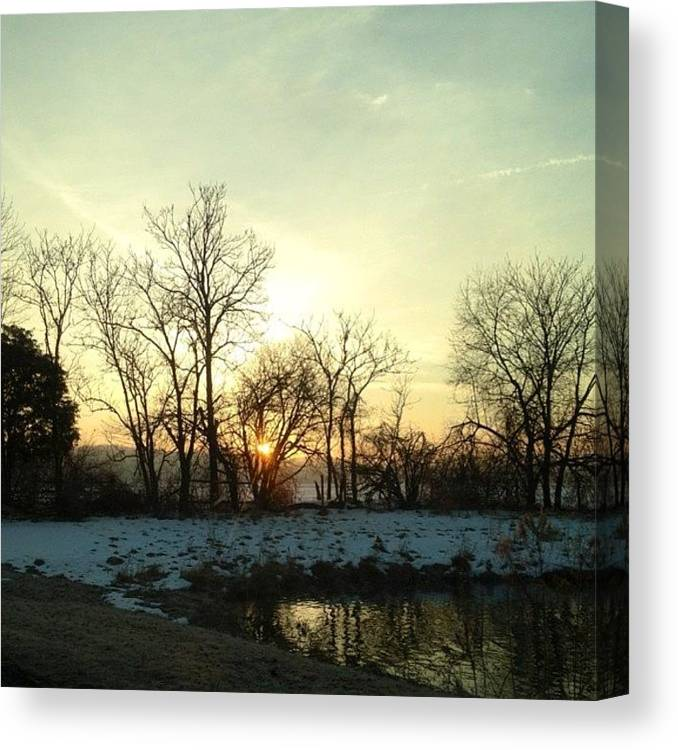 Water Canvas Print featuring the photograph #sunrise #morning #water #pond #pretty by Amber Campanaro