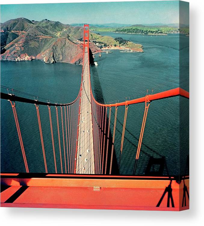 Architecture Canvas Print featuring the photograph The Golden Gate Bridge by Serge Balkin