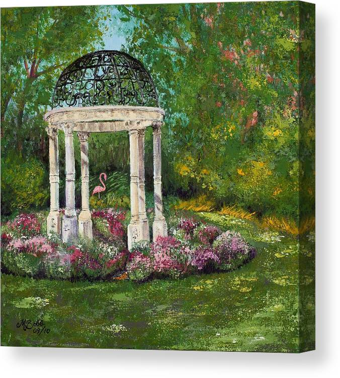 Garden Canvas Print featuring the painting The Governor's Gazebo by Margaret Bobb