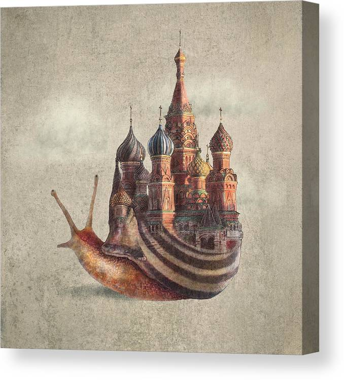 Snail Canvas Print featuring the drawing The Snail's Daydream by Eric Fan