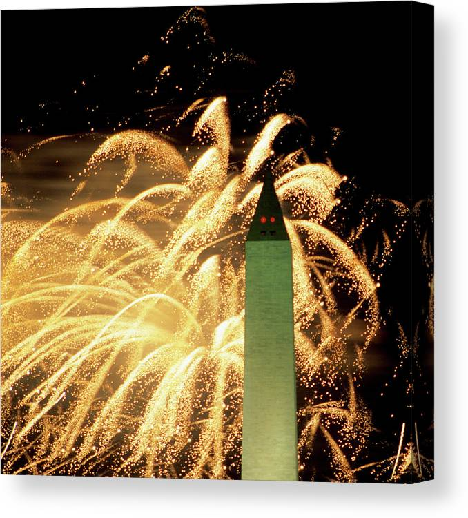 Firework Display Canvas Print featuring the photograph The Washington Monument And Fireworks by Hisham Ibrahim
