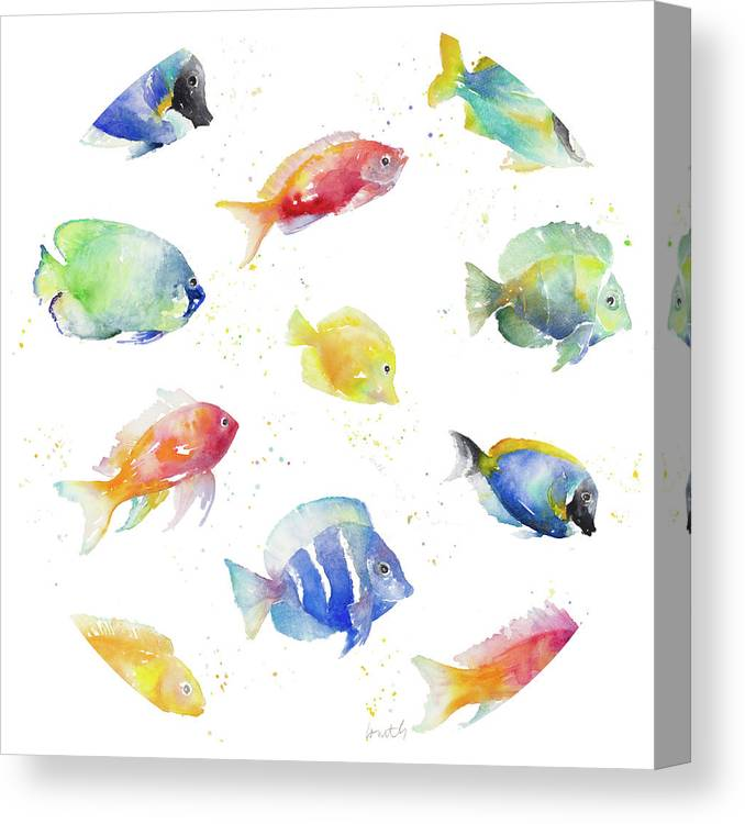 Tropical Canvas Print featuring the painting Tropical Fish Round by Lanie Loreth