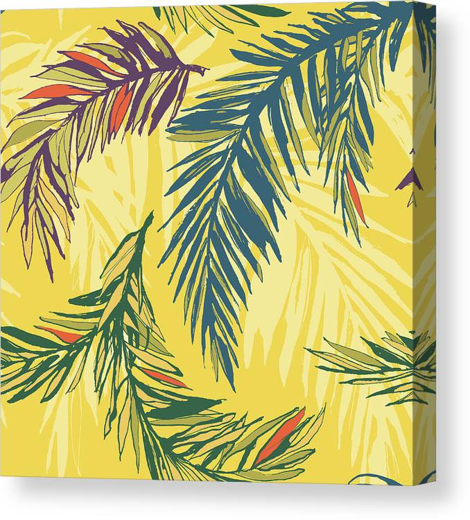 Tropical Rainforest Canvas Print featuring the digital art Tropical Jungle Floral Seamless Pattern by Sv sunny
