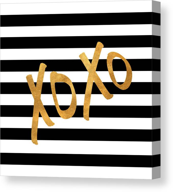 Valentines Canvas Print featuring the digital art Valentines Stripes IIi by South Social Studio