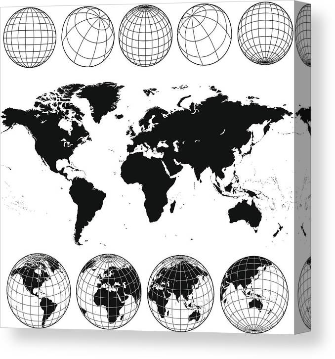 Globe Canvas Print featuring the drawing Various views of the world as a globe, and on flat surface by Kathykonkle