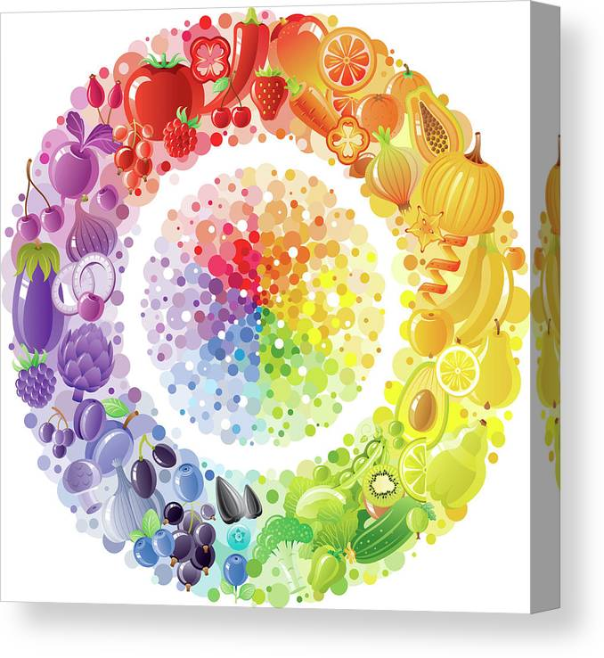 Nut Canvas Print featuring the digital art Vegetarian Rainbow Plate Withe Fruits by O-che