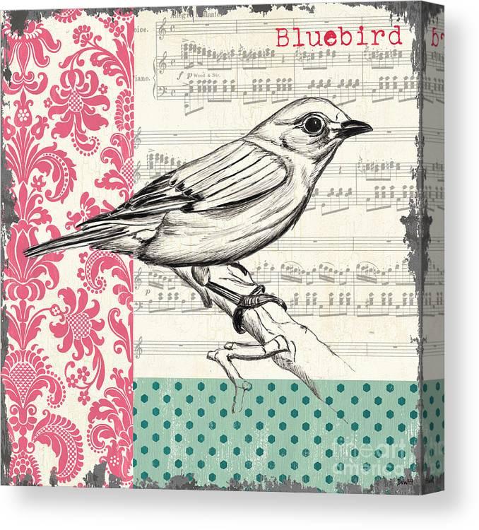 Bird Canvas Print featuring the painting Vintage Songbird 1 by Debbie DeWitt