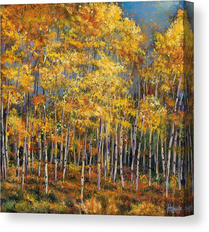 Autumn Aspen Canvas Print featuring the painting Whispers and Secrets by Johnathan Harris