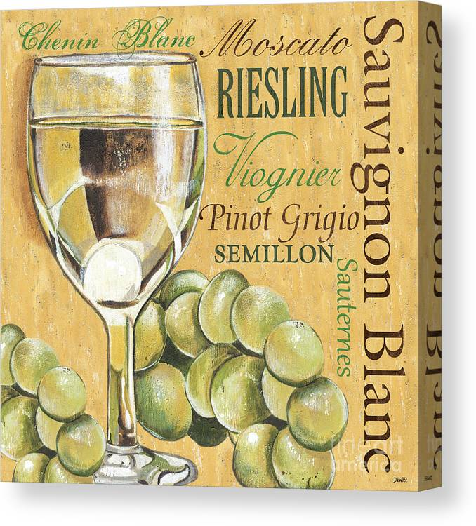 Wine Canvas Print featuring the painting White Wine Text by Debbie DeWitt
