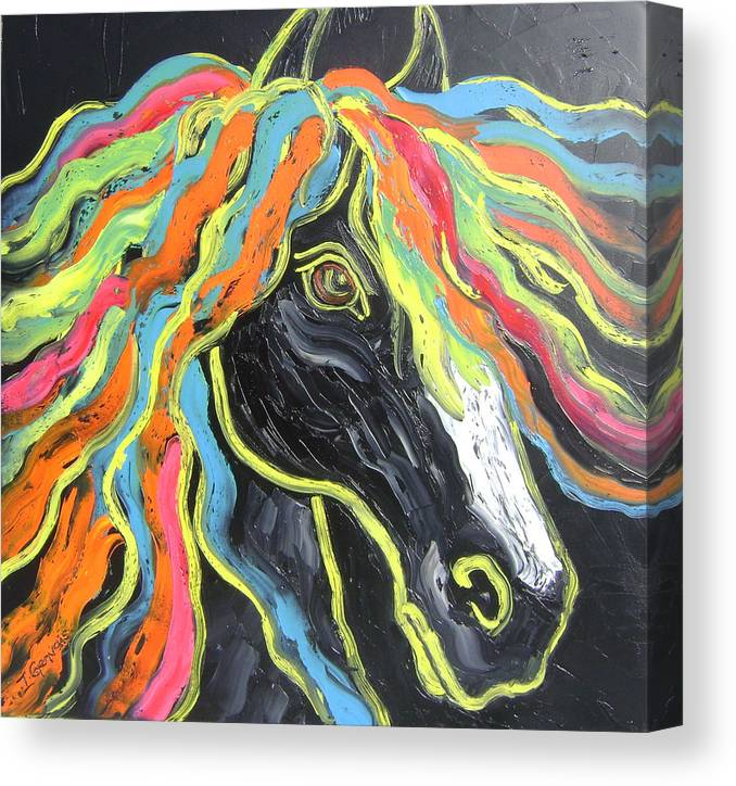 Isabelle Canvas Print featuring the painting Wild horse by Isabelle Gervais