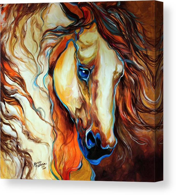 Horse Canvas Print featuring the painting Wild West Buckskin by Marcia Baldwin