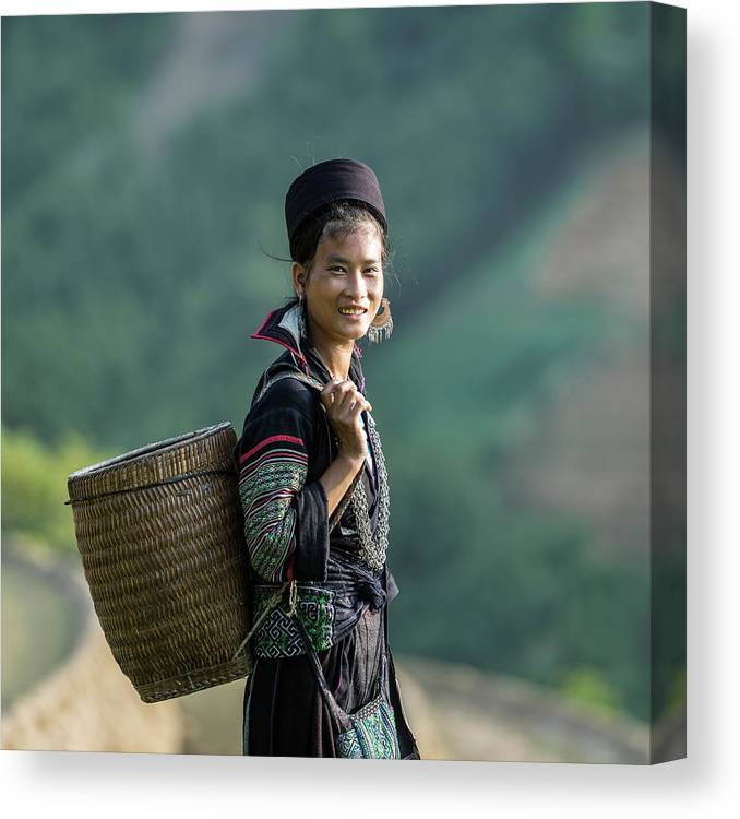 Farm Worker Canvas Print featuring the photograph Woman Of Black Hmong Hill Tribe Next To by Martin Puddy