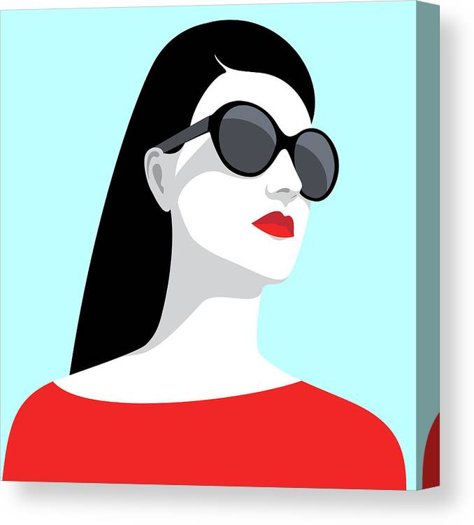 People Canvas Print featuring the digital art Woman Wearing Sunglasses by Marzacz