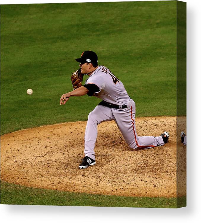 Javier López Canvas Print featuring the photograph World Series - San Francisco Giants V by Ed Zurga