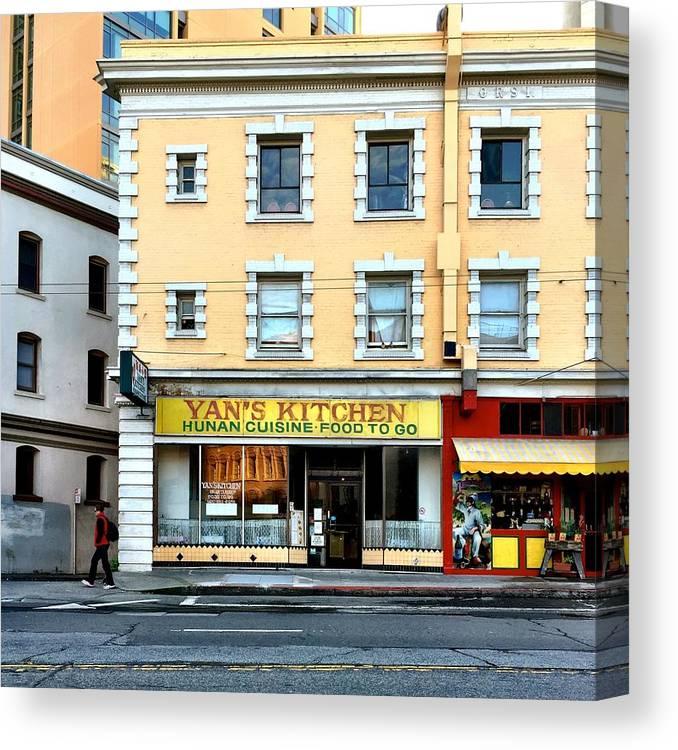 Street Scene Canvas Print featuring the photograph Yan's Kitchen by Julie Gebhardt