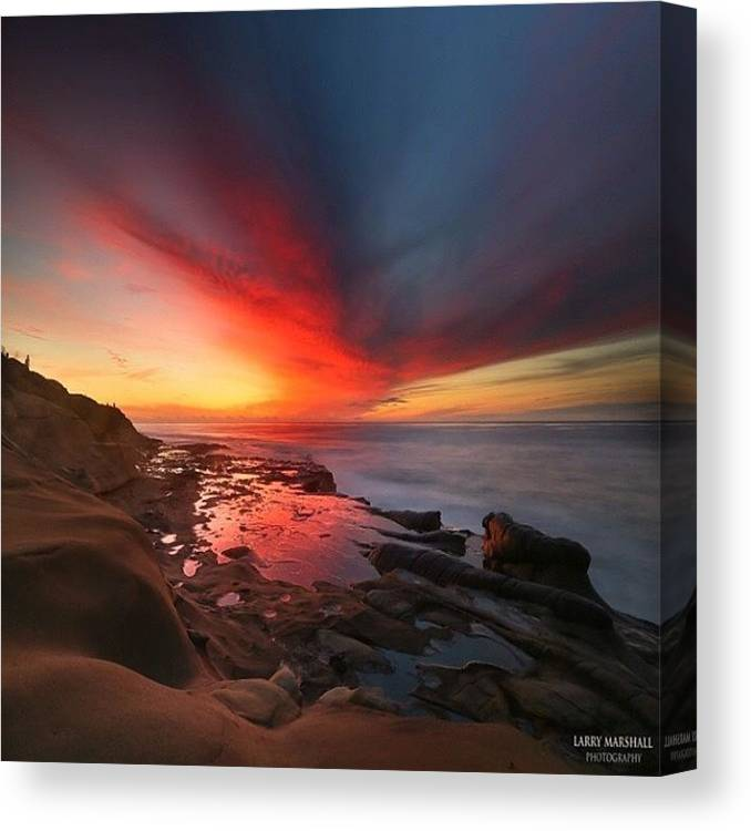 Canvas Print featuring the photograph Long Exposure Sunset In La Jolla by Larry Marshall