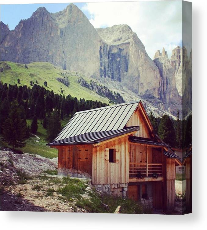 Dolomites Canvas Print featuring the photograph Rosengarten - Dolomites by Luisa Azzolini