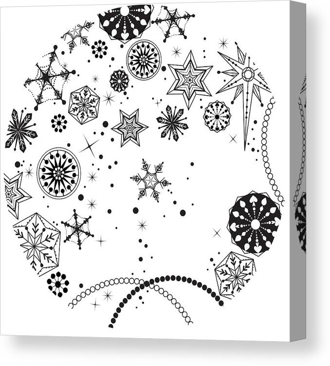 Square Canvas Print featuring the digital art Various Plants Patterns by Eastnine Inc.