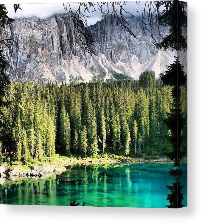 Outdoor Canvas Print featuring the photograph Lake Of Carezza by Luisa Azzolini