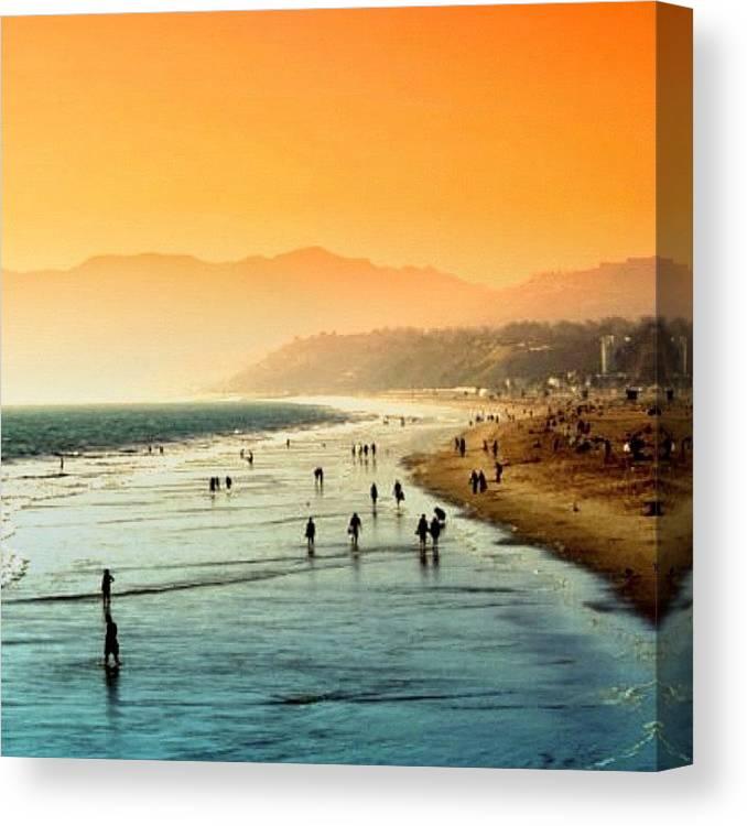 Beautiful Canvas Print featuring the photograph Santa Monica Beach by Luisa Azzolini